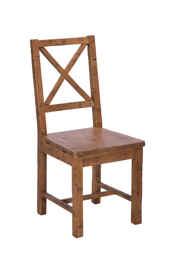 Reclaimed Industial Dining Chair Wood Seat