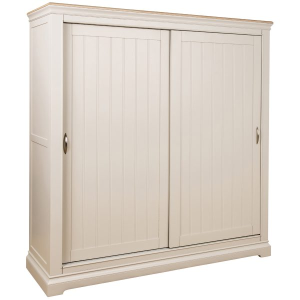 Avebury Sliding Door Wardrobe  Painted Stone Grey with Oak Top